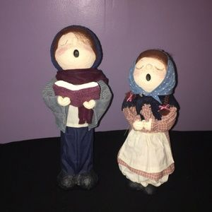 Other - Christmas Holiday Stiffened Fabric Caroler Dolls